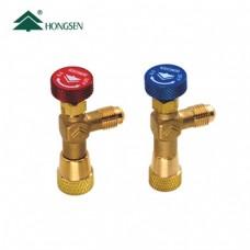 Вентиль кутовий для заправки HONGSEN HS-1221 (R410A, R32, шланг 1/4SAE - балон 5/16SAE)